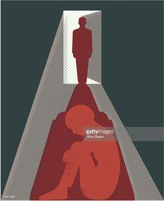 Arte vetorial : Shadow of man in doorway over afraid woman