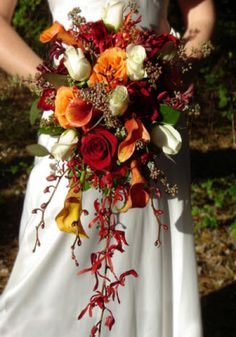 fall cascading wedding bouquet | tones bridal bouquet rich fall flowers fill this lovely fall cascading ...