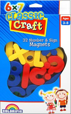 Colorific Magnetic Numbers and Signs Brightly coloured, chunky number and signs magnetic pack. 32 magnets around each. Combine with magnetic whiteboard and markers to practice number skills. Magnetic Whiteboard, Toys Online, Bright Colors, Markers, Numbers, Signs, Crafts, Bright Colours, Sharpies
