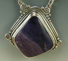 Sterling Silver and Tiffany Stone Pendant by DenimAndDiaJewelry, $370.00