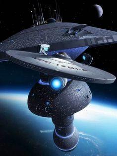 Star Trek - USS Enterprise leaving starbase