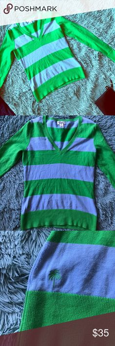 Lilly Pulitzer Sweater 💚💙 Lilly Pulitzer Sweater 💚💙 Pre-Owned, GREAT CONDITION! Light blue and green stripes 🎀 Let's negotiate! Lilly Pulitzer Sweaters V-Necks