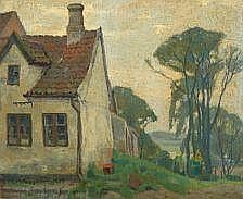 Einar Wegener: Landscape with house. Signed E.M.