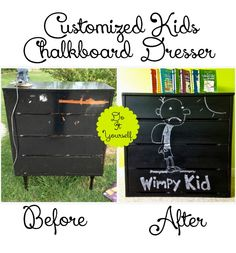 DIY Customized-Kids-Chalkboard-Dresser. Repinned by neafamily.com.