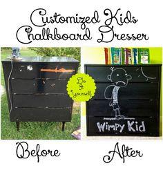 DIY Customized-Kids-Chalkboard-Dresser. Repinned by neafamily.com.