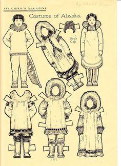 ESKIMO PAPER DOLLS by Rachel Taft Dixon, uncut page from magazine, b&w