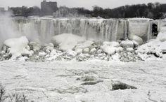 North Polar Vortex. Niagara Falls almost frozen solid