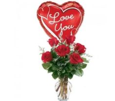 6 Red Roses Flowers And Balloons 1800 Gifts