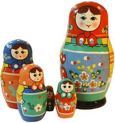 A set of matryoshkas - Russian nesting dolls. #Russian #folk #art #matryoshka