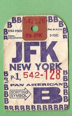 Pan Am - JFK NY Baggage Tag