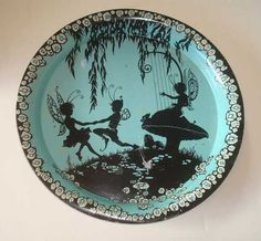 Vtg Dancing Fairy Pixie Nymph Serving Tray Mushrooms Harp | eBay