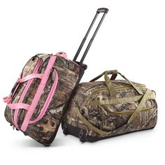 """Mossy Oak® Camo 22"""" Rolling Duffel Bag. The perfect gift for someone who is hosting a camo wedding."""