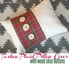 Tartan plaid pillow cover with DIY wood slice buttons
