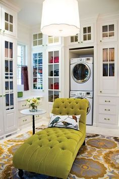 This pic made me laugh out loud -- I always lounge in my laudry room!  Oh and btw this design would only work in a showhouse -- It would be covered in laundry 1/2 the time in a home...:0)