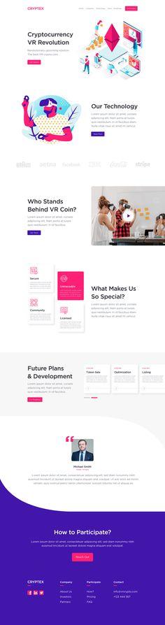 Virtual Reality Blockchain Landing Page on Behance Website Design Inspiration, Website Design Layout, Web Layout, Clean Web Design, App Design, Design Ideas, Flat Design, Logo Design, Best Landing Page Design