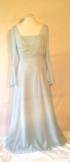 Pale blue chiffon gown,beading,sequins,rhinestone accents,alternative wedding,bridesmaid,mother of the bride,upcycled,formal,Size L by DoubleTakeGlamour on Etsy https://www.etsy.com/listing/245328619/pale-blue-chiffon