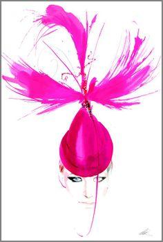 Jade Parfitt wearing a Philip Treacy hat by artist David Downton