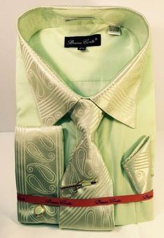 b84b60a83c Bruno Conte Men's New Green Dress Shirt, Tie, Hanky & Cuff Links Size