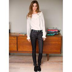 Calças 7/8 slim com detalhe de tachas Soft Grey | La Redoute