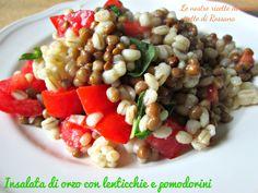 Insalata di orzo con lenticchie e pomodorini, #ricetta #vegana