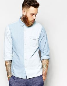 Enlarge ASOS Western Shirt In Long Sleeve With Contrast Panelling