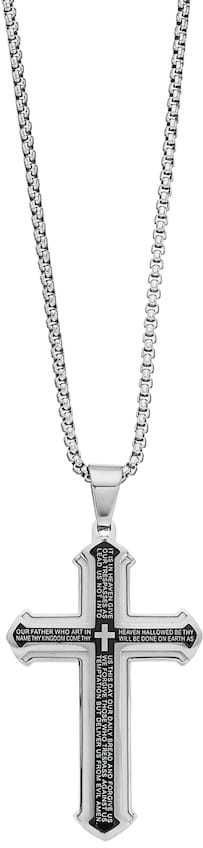 """1913 Stainless Steel Two Tone Men's """"The Lord's Prayer"""" Pendant Necklace"""