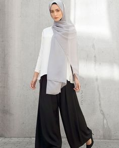 Timeless wardrobe staples - Perfect for workwear and everyday styling. White Crepe Top Black Pleat Front Palazzos Cool Grey Soft Crepe Hijab - SALE www.inayah.co