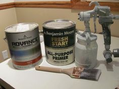 Painting cabinets with paint sprayer - She recommends Wagner HVLP Conversion Gun, Benjamin Moore Advanced & Benjamin Moore Fresh Start Primer