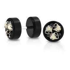 Bling Jewelry Black Acrylic Three Skulls Fake Cheater Plug Earrings... ($14) ❤ liked on Polyvore featuring jewelry, earrings, black, disc earrings, black jewelry, womens jewellery, fake earrings and diamond earrings