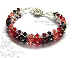 Black and Red Swarovski Crystal Bracelet with Flower Magnetic Clasp by CandyBead