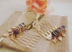 Boho Hair Jewelry, Raw Stone, Gold Leaf Hair Clip, Wire Wrapped Gemstones, Crystal Wedding Comb, Titanium Rainbow Aura, Mermaid Bridal Hair Bohemian Hairstyles, Bride Hairstyles, Bohemian Hair Accessories, Wedding Hair Clips, Golden Hair, Stone Gold, Crystal Wedding, Hair Comb, Hair Jewelry