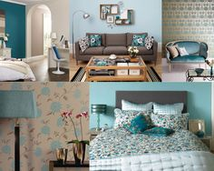 Interior Design room sets in Taupe and Teal colours, blogged by Moregeous