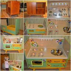 Recycle An Old Nightstand Into a Cute Play Kitchen For Kids