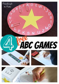FREE printable ABC games. Super fun ways to practice letter writing, ABC order, and letter names. #preschool #education #efl (repinned by Super Simple Songs)