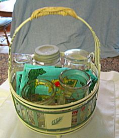 Vintage dairy jars, fruit jar and cute basket for sale at More Than McCoy on TIAS!