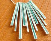 Mint & Turquoise Geometric Necklace - Native Bohemian - Boho Prong Pendant - Retro Vintage