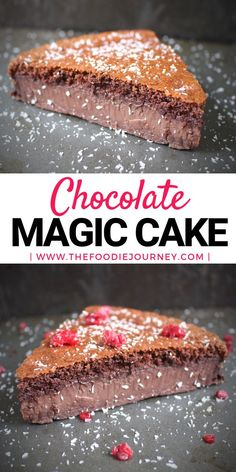 Chocolate Magic Cake, or how to make an incredible two layers cake with only one batter. Do you love deliciously light brownie and/or decadent chocolate custard pudding? Now, you can have both with this super easy chocolate dessert recipe! Magic Chocolate Cake, Easy Chocolate Desserts, Chocolate Cake Recipe Easy, Chocolate Recipes, Easy Desserts, Chocolate Custard, Delicious Desserts, Decadent Chocolate, Chocolate Chocolate