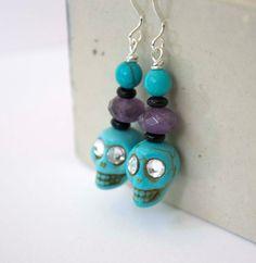 Turquoise Skull Earrings Spooky Earrings Halloween by bstrung