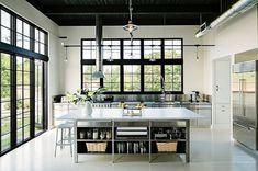 industrielle küche rostsichere küchenschränke tolle kücheninsel schwarze decke