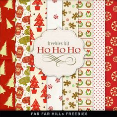 Far Far Hill - Free database of digital illustrations and papers: New Freebies Winter Backgrounds - Ho Ho Ho