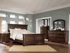 Love the whole furniture set, and the paint color #bedroom