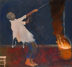 Mel McCuddin, Raggedy Man with Fire Bucket 2010, oil on canvas