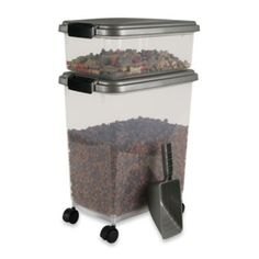 IRIS USA 3-Piece Airtight Pet Food Container Combo - BedBathandBeyond.com Need to get this for Max
