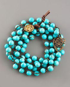 "Love Heals Turquoise Bead Wrap Bracelet - Neiman Marcus    43""-44 wrap     bronze heart 7-9mm"