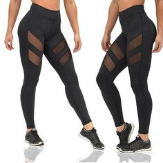 Women Workout Leggings Push-up Sporting Leggings Mesh Transparent Elastic Skinny Fitness Leggings Women Net Yarn Pants
