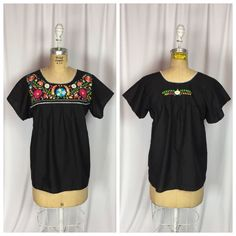 Vintage Mexican Oaxacan Tunic Floral Embroidered Boho Festival Top. Small  | eBay