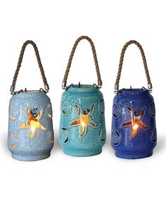 Love this 7.75'' H Ceramic Lanterns - Set of Three on #zulily! #zulilyfinds