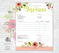 Imperfect Photoshop How To Photographers Receipt Template, Invoice Template, Business Plan Template, List Template, Bakery Business, Craft Business, Business Ideas, Photography Business, Creative Photography