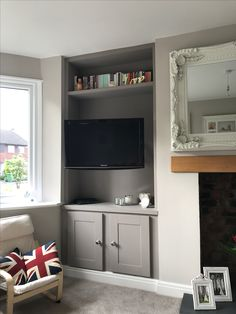 Alcove units with TV mounted unit Creative tv unit Corner Unit Living Room, Alcove Ideas Living Room, Living Room Built Ins, Bookshelves In Living Room, Living Room Cabinets, Simple Living Room, Living Room Storage, Living Room Tv, Living Room With Fireplace