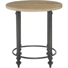 Round End Table Top and Metal End Table Base   Bernhardt ❤ liked on Polyvore featuring home, furniture, tables, accent tables, round occasional table, metal end table, round side table, circular table and round lamp table